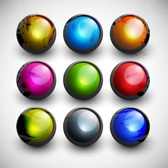 Boutons circulaires colorées