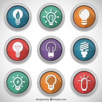 Boutons colorés avec des icônes d'ampoules
