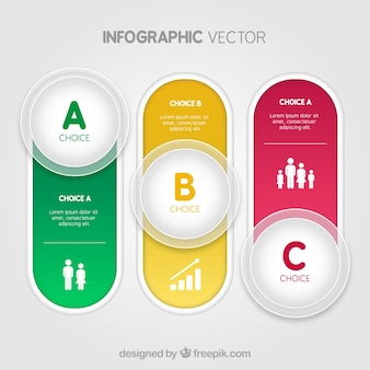 Boutons colorés infographie