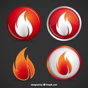 Boutons de flamme de feu