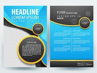 Brochure A4 Modèle de présentation avec cercle bleu et noir
