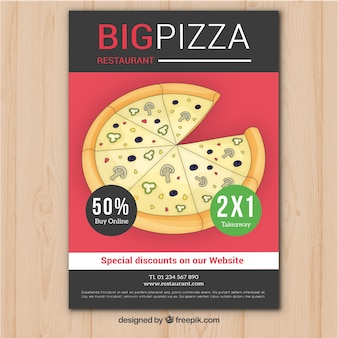 Brochure avec pizza à la main