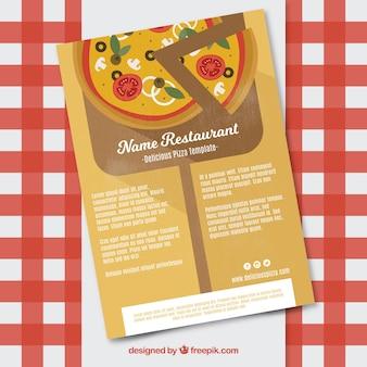 Brochure avec pizza au design plat