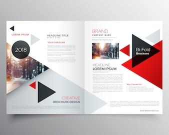 Brochure bifold d'affaires ou modèle de conception de couverture de magazine avec motif triangulaire géométrique