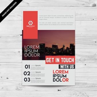 Brochure commerciale avec chiffres et design géométrique
