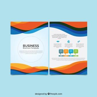 Brochure commerciale avec des formes ondulées colorées