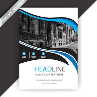 Brochure commerciale bleue et blanche avec détails en noir