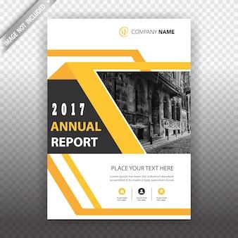 Brochure commerciale géométrique avec détails en jaune