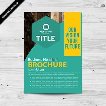 Brochure commerciale verte avec détails en jaune