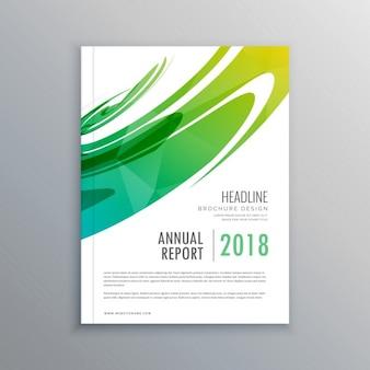 Brochure d'affaires de rapport annuel fait avec une forme abstraite verte