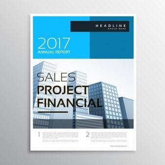 Brochure d'affaires moderne et élégant et modèle de dépliant avec des formes bleues