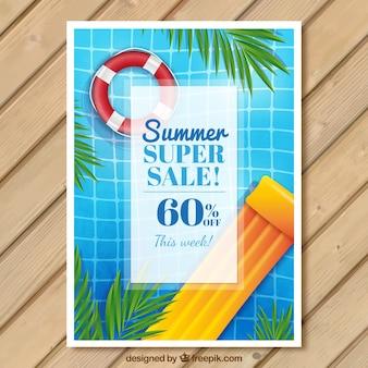 Brochure d'aquarelle des ventes d'été avec piscine