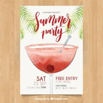 Brochure d'aquarelle pour cocktail cocktail d'été