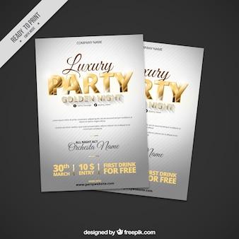 Brochure d'argent de fête avec des détails dorés