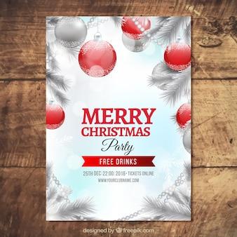 Brochure d'argent de fête de Noël avec des boules de Noël rouges