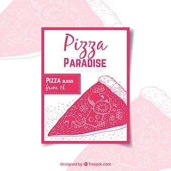 Brochure d'offre de pizza dessinée à la main