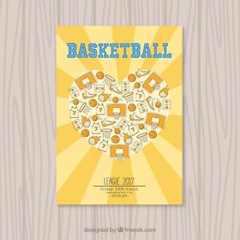 Brochure de coeur avec des éléments de basket-ball dessinés à la main