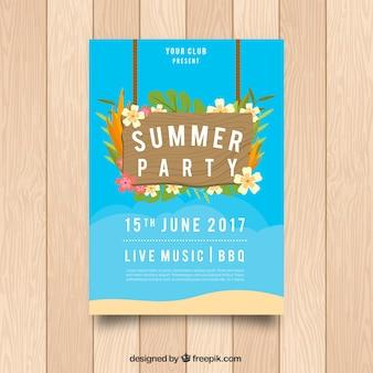 Brochure de fête d'été avec décoration florale