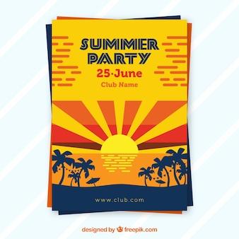 Brochure de fête d'été avec le coucher du soleil