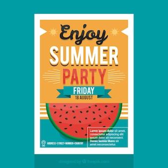 Brochure de fête d'été avec pastèque