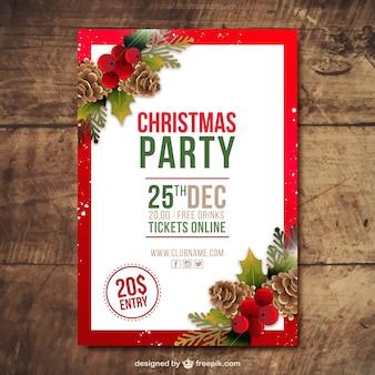 Brochure de Noël de fête avec des pommes de pin et le gui dans un style réaliste