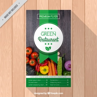 Brochure des restaurants avec des légumes