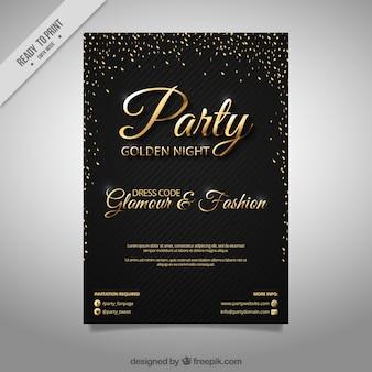 Brochure élégante de partie avec des confettis d'or