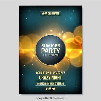 Brochure élégante Golden Bokeh Summer Party