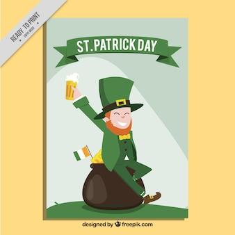 Brochure elfe drôle avec la bière