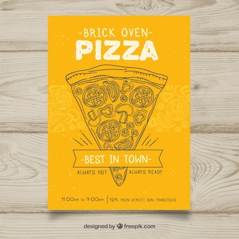 Brochure jaune avec croquis de pizza