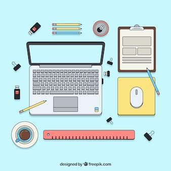Bureau moderne avec style dessiné à la main