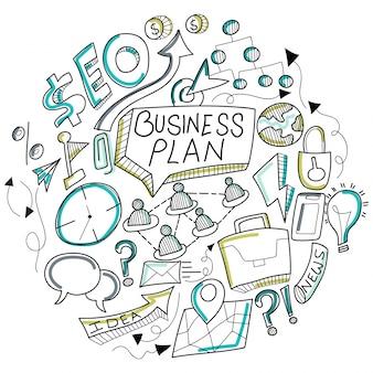 Business Doodle, avec signe commercial noir et blanc, symboles et icônes.