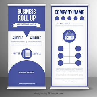 Business roll up template in flat design