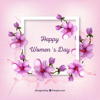 Cadre avec détails floraux d'aquarelle de la journée de la femme