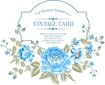 Cadre avec différentes fleurs bleues