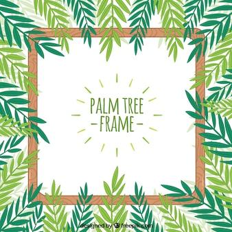 Cadre avec feuilles de palmier dessinées à la main