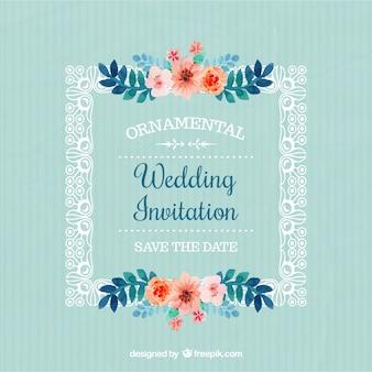 Cadre avec invitation des fleurs de mariage