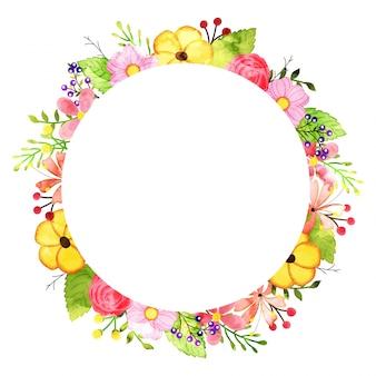 Cadre de fleurs d'aquarelle, design de printemps ou d'été pour invitation, mariage ou cartes de voeux.