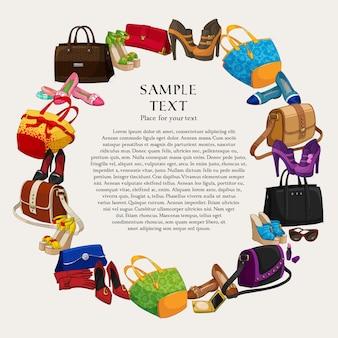 Cadre de mode de mode de luxe avec des chaussures pour femmes, sacs et accessoires, illustration vectorielle