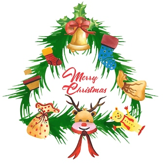 Cadre de Noël aquarelle dessiné à la main Designs