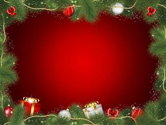 Cadre de Noël décoratif avec des cadeaux