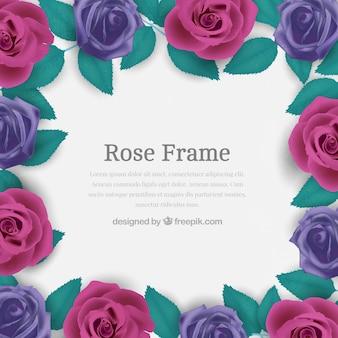 Cadre de roses violettes dans un design réaliste