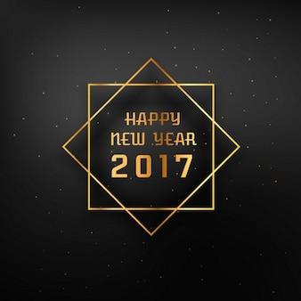 Cadre doré avec 2017 heureux nouveau texte de l'année