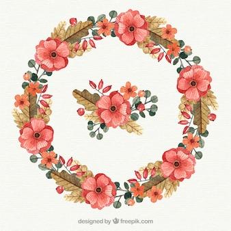 Cadre floral à l'aquarelle circulaire
