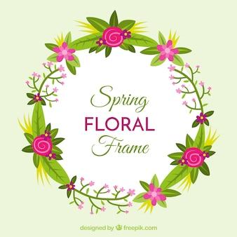 Cadre floral à ressort avec motif plat