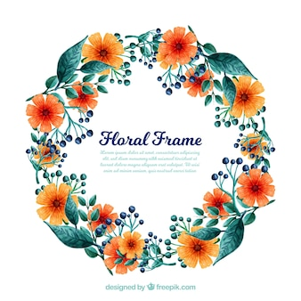 Cadre floral aquarelle avec style artistique