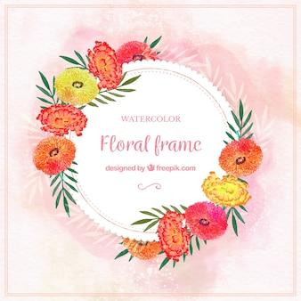 Cadre floral aquarelle avec style classique