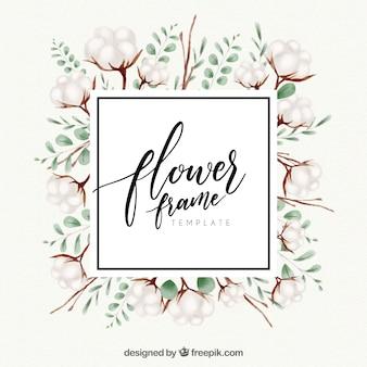 Cadre floral aquarelle avec style élégant
