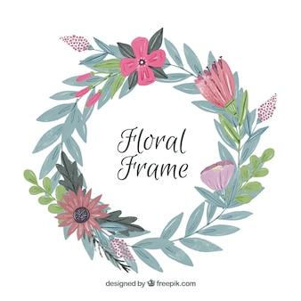 Cadre floral aquarelle avec style original