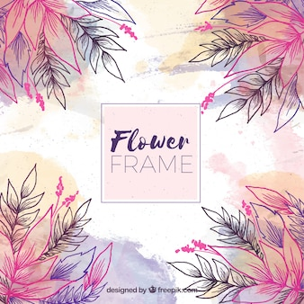 Cadre floral artistique avec des fleurs